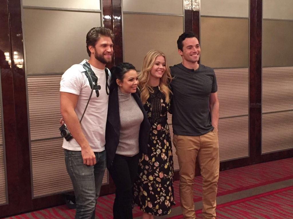 The cast of pretty little liars attend pll con in germany sasha pieterse ian harding janel parrish and keegan allen attend the biggest pretty little liars convention in germany yesterday february 20 m4hsunfo