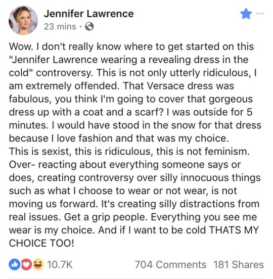 """54b73d183ed Jennifer Lawrence Speaks Out About The """"Wearing A Revealing Dress In ..."""