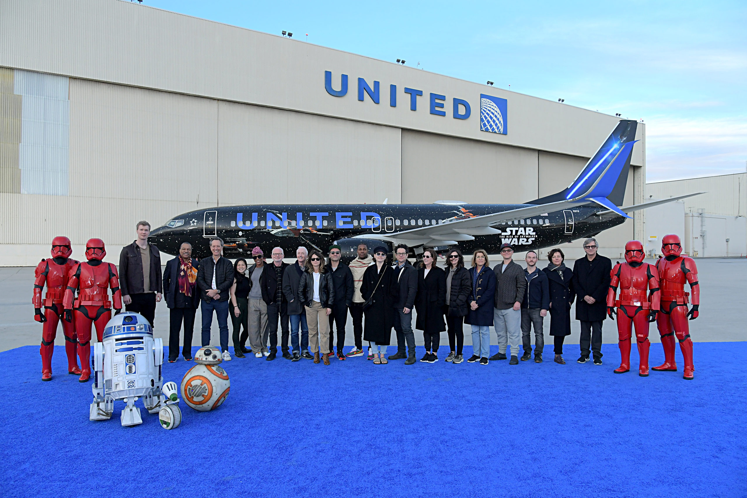 The Cast Of Star Wars The Rise Of Skywalker Attend United Airline S Star Wars Aircraft Launch Beautifulballad